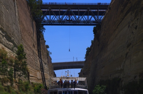 A bungee jumper from the bridge