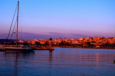 Sunset reflections from the Corinth harbour