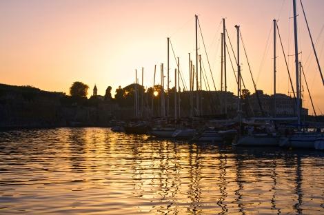 Sunset at Mandraki marina